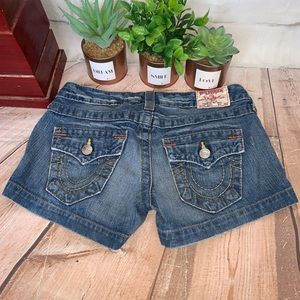 True Religion Jessica Denim Jean Shorts Dark Wash
